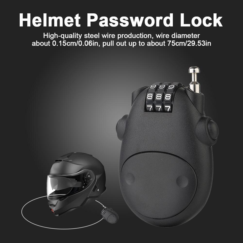 Antivol universel pour moto, scooter, casque avec mot de passe, câble en acier.