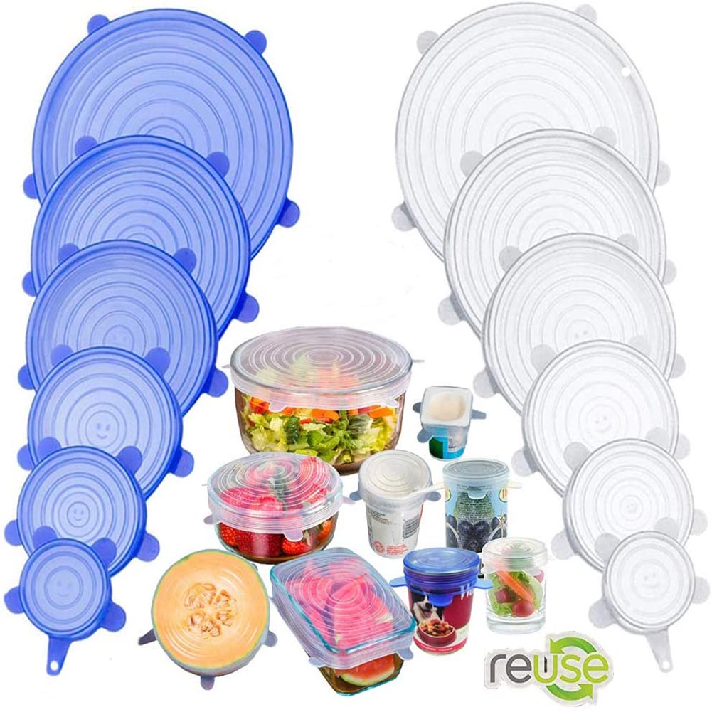 Couvercles en silicone extensible, alimentaire, réutilisable.