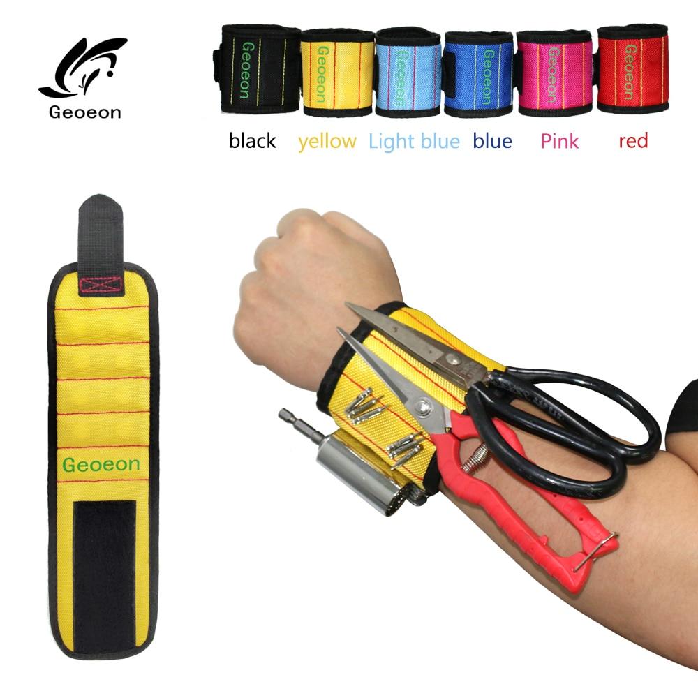 Bracelet magnétique poignet polyester avec aimants puissants pour mécanicien, menuisier, électricien...