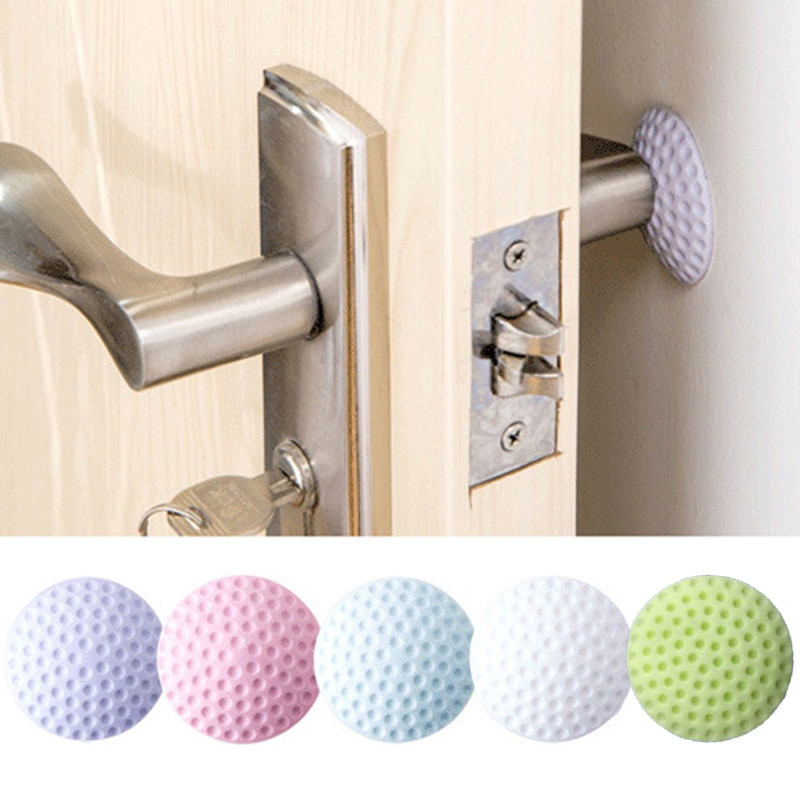 Tampon en caoutchouc auto-adhésif souple pour protéger le mur contre la poignée de porte.  (blanc/bleu/rose/vert/violet)