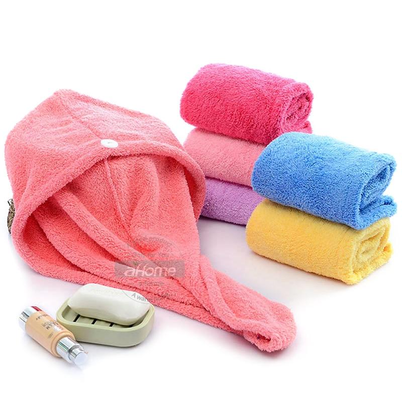 Turban pour séchage des cheveux en microfibre, haute absorption.