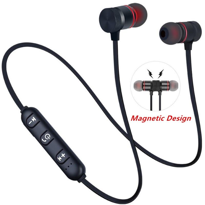 Ecouteurs sports Bluetooth 5.0, tour de cou, magnétique, stéréo en métal avec micro.