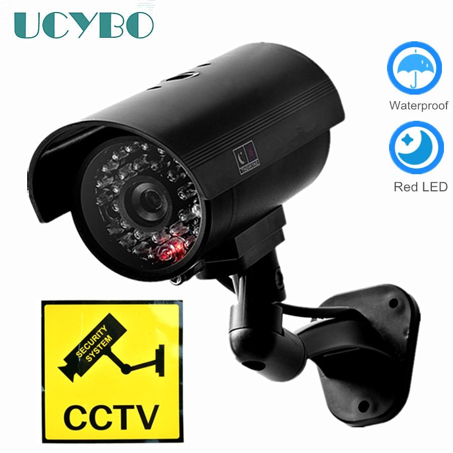 Caméra factice de sécurité CCTV étanche pour l\'extérieur, Flash rouge clignotant. dissuasive.