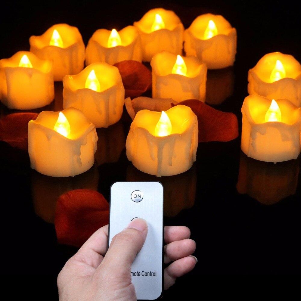 Paquet de 12 bougies Leds à piles + télécommande.