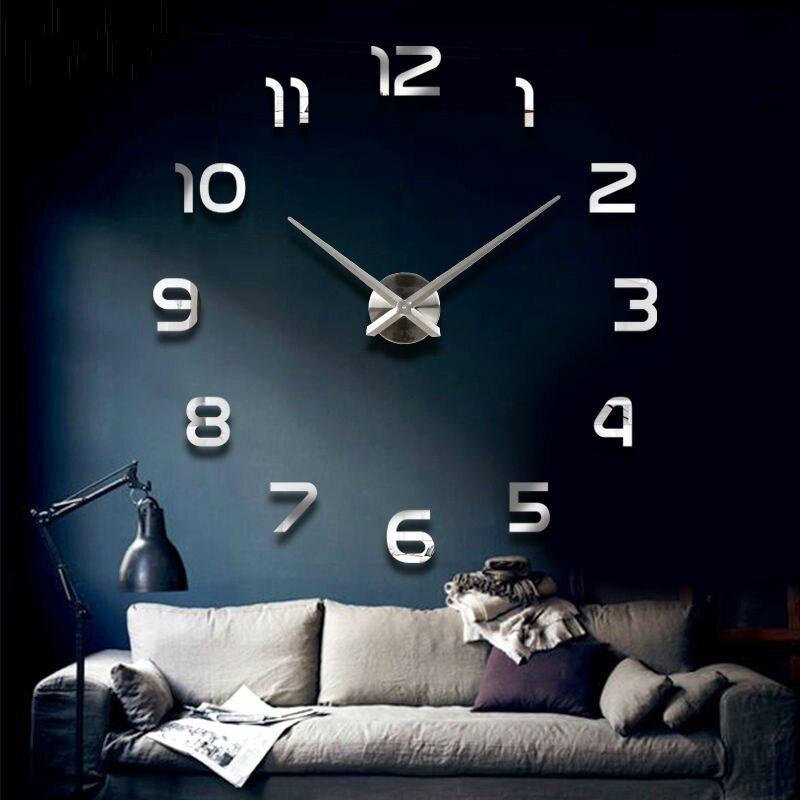Horloge murale miroir deux tailles. Autocollant 3D, décoration de salon, salle de réunion, bureau..
