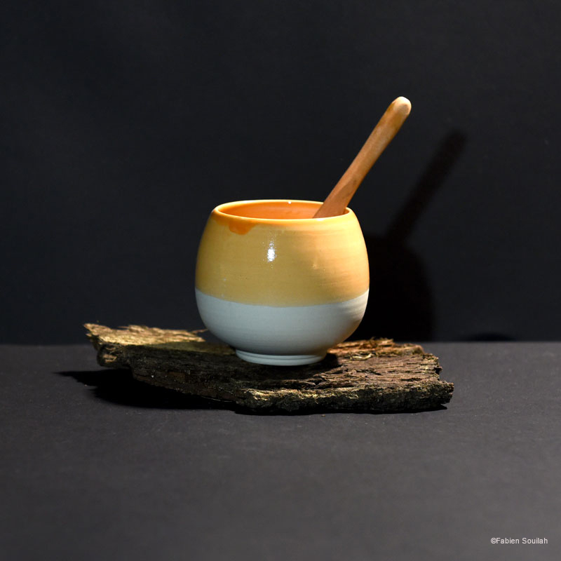 Tasse à thé, forme boule, orange