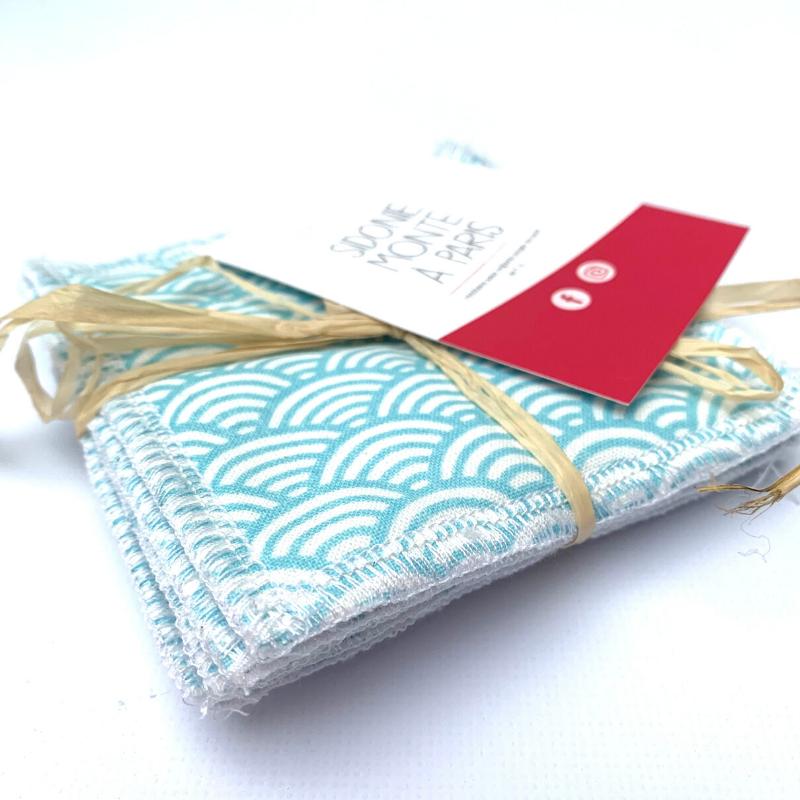 Lingettes de démaquillage lavables - Bambou et coton Oeko-tex - Motif japonais vague bleu
