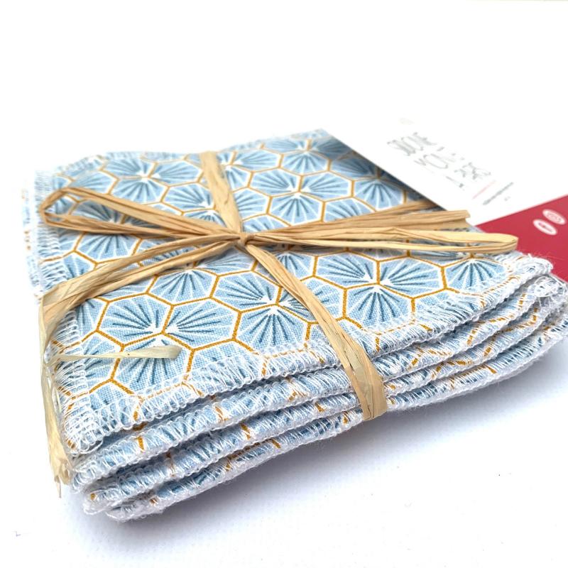 Lingettes lavables de démaquillage - Bambou et coton Oeko-tex - Motif Trèfle Bleu
