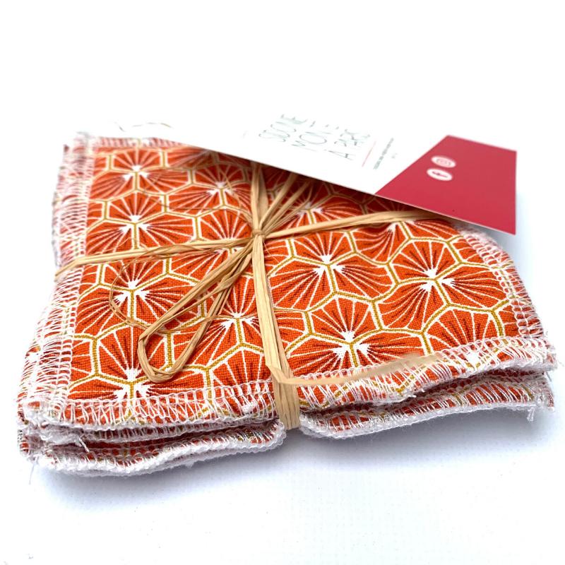 Lingettes lavables de nettoyage - Bambou et coton Oeko-tex - Motif Trèfle Orange
