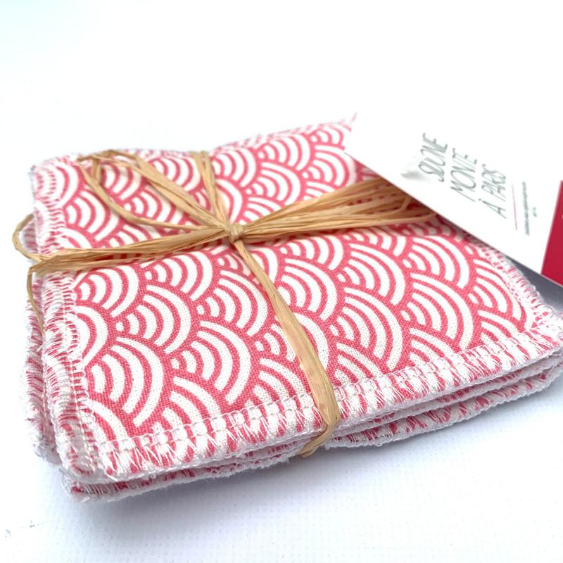 Lingettes lavables de nettoyage - Bambou et coton Oeko-tex - Motif japonais Vague rose
