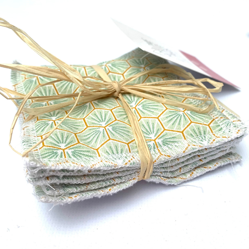 Lingettes de nettoyage Oeko-tex - Bambou et coton - Motif Trèfle Vert
