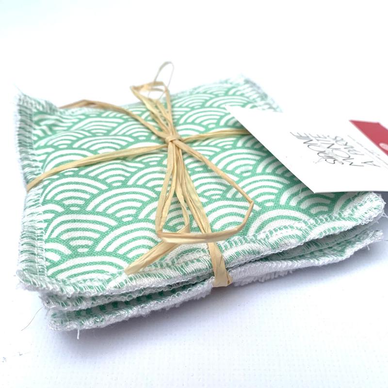Lingettes de nettoyage Oeko-tex - Bambou et coton - Motif Vague vert