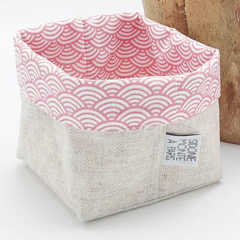 Panier en tissu Oeko-tex pour ranger ses cosmétiques - motif japonais vague rose
