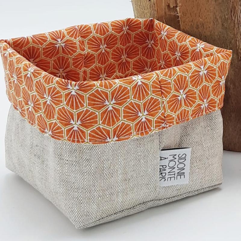 Panière à lingettes en tissu - Oeko-tex - motif trèfle orange
