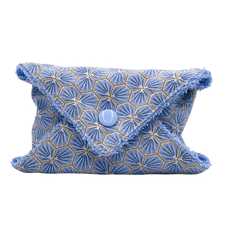 Pochette à savon ou à shampoing solide de voyage - Coton Oeko-tex - Motif Trèfle bleu