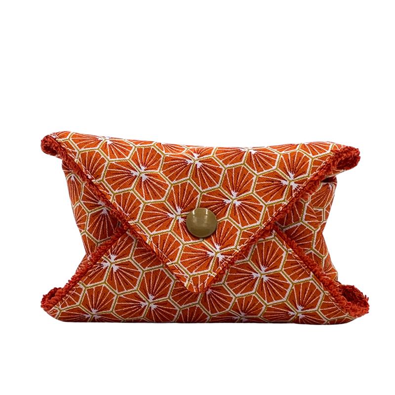 Étui à savon - Pochette à savon de voyage - Coton Oeko-tex  - Motif Trèfle Orange