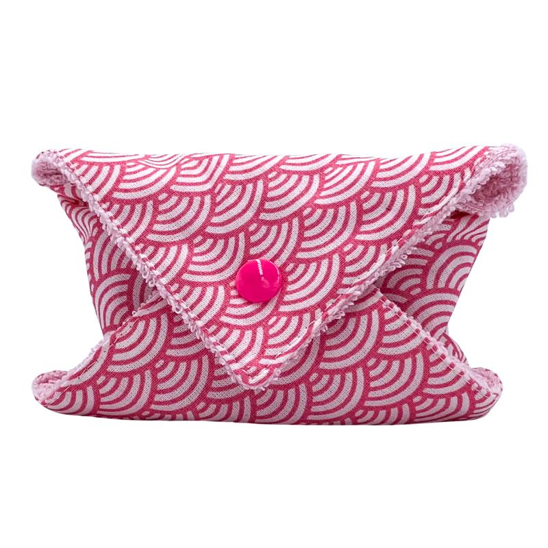 Étui à savon - Pochette à savon de voyage - Coton Oeko-tex - Motif japonais vague rose