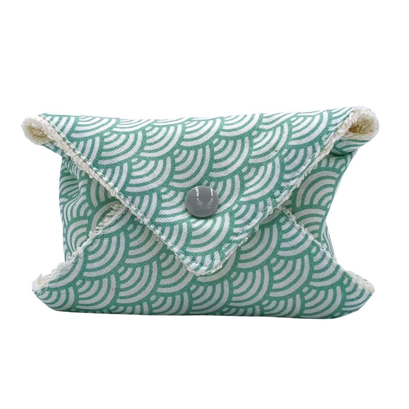Étui à savon - Pochette à savon de voyage - Coton Oeko-tex - Motif japonais vague vert
