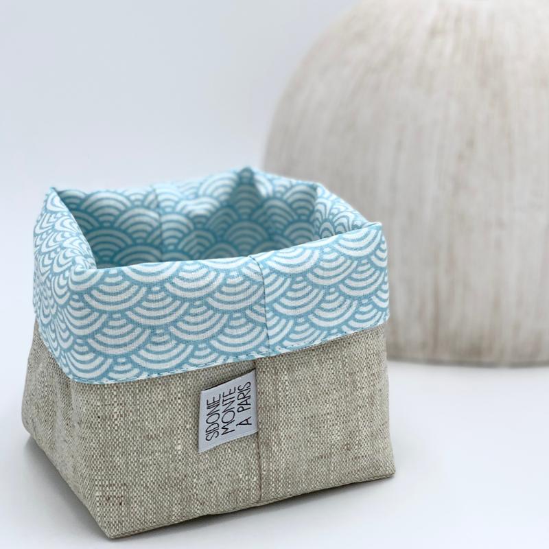 Corbeille de rangement en tissu Oeko-tex - motif japonais vague bleu