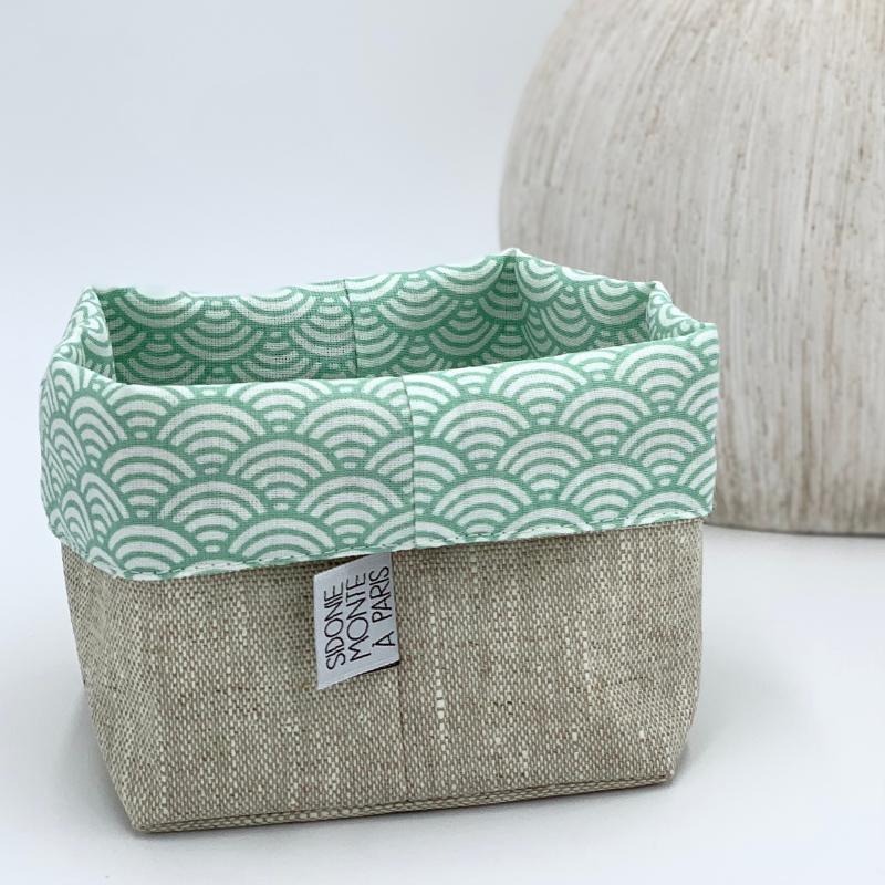 Panier de rangement en tissu pour lingettes - Oeko-tex - motif japonais vague vert