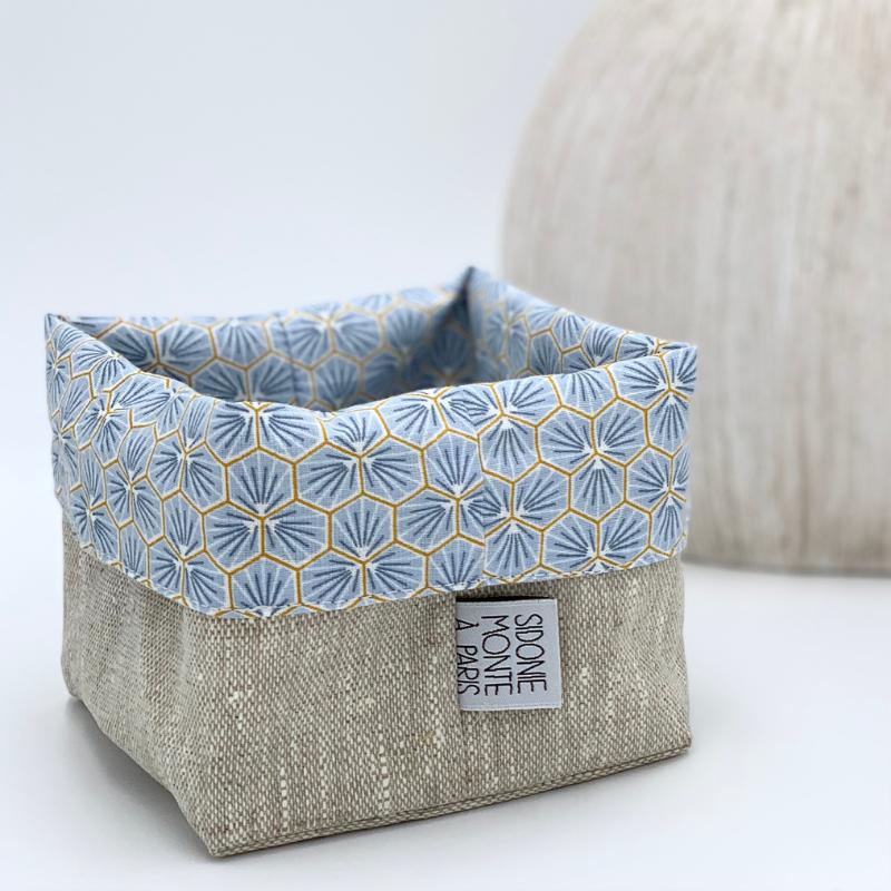 Panier ou sac de rangement textile pour cosmétiques - Oeko-tex - motif trèfle bleu