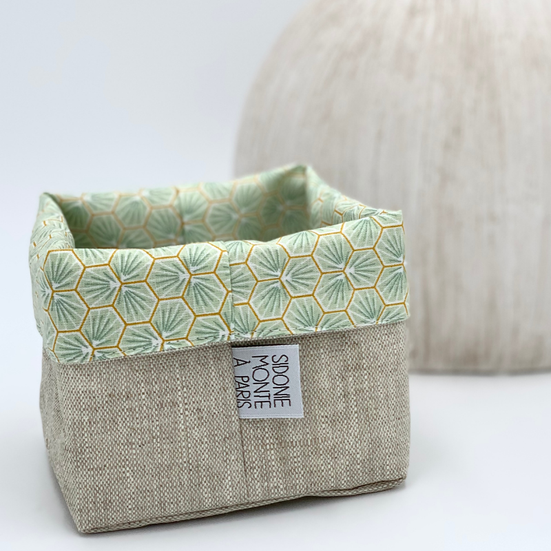 Panier ou sac de rangement en tissu - Oeko-tex - motif trèfle vert