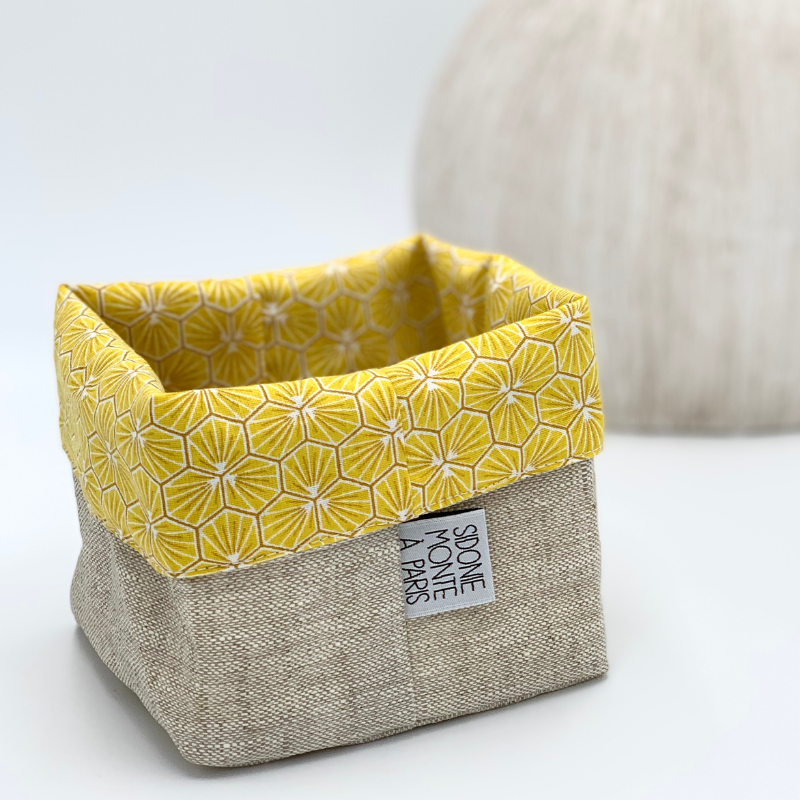 Panière ou sac de rangement en tissu - Oeko-tex - motif trèfle jaune