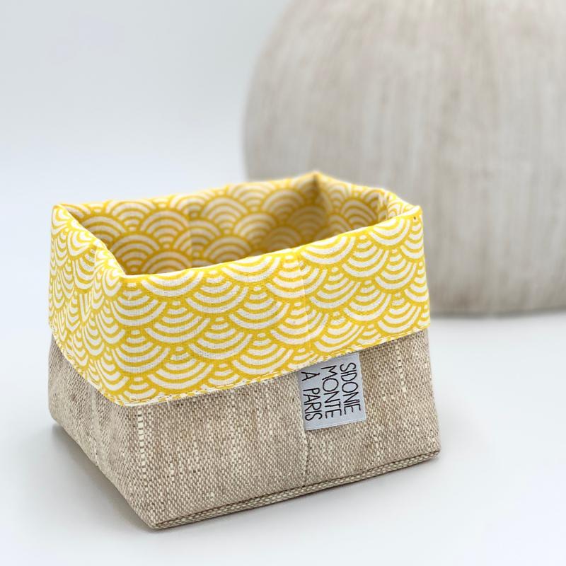 Panier ou sac de rangement en tissu - Oeko-tex - motif japonais vague jaune