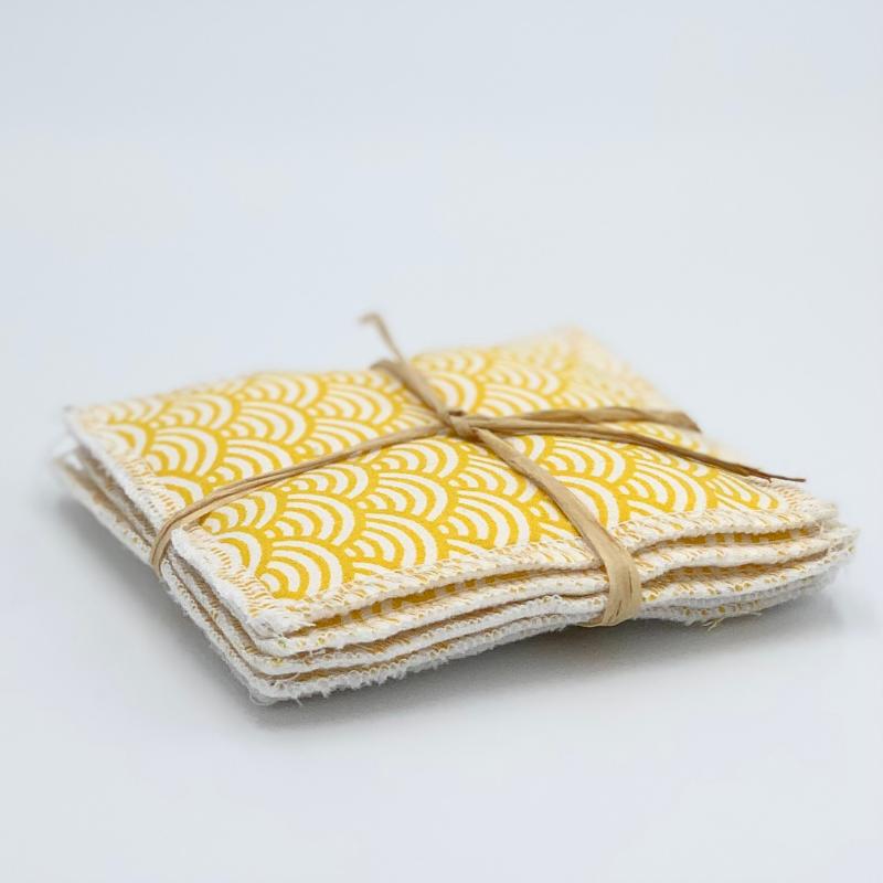 Lingettes de nettoyage lavables - Bambou et coton Oeko-tex - Motif japonais vague jaune