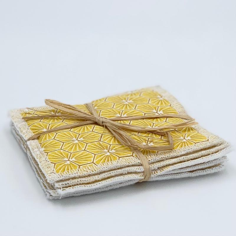 Lingettes de démaquillage lavables - Bambou et coton Oeko-tex - Motif trèfle jaune