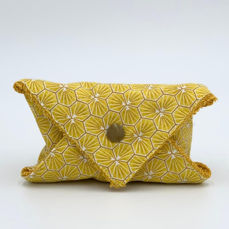Pochette à savon ou à shampoing solide de voyage - Coton Oeko-tex - Motif Trèfle jaune