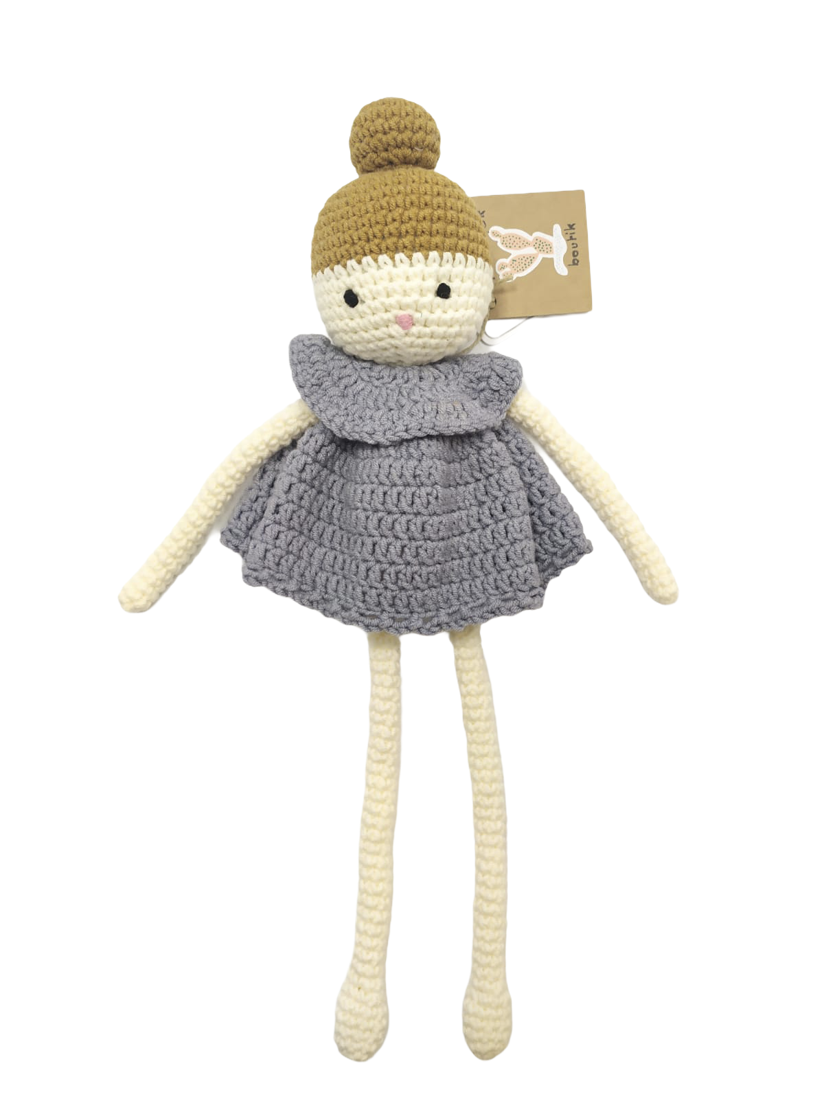 Poupée ballerine grise en laine