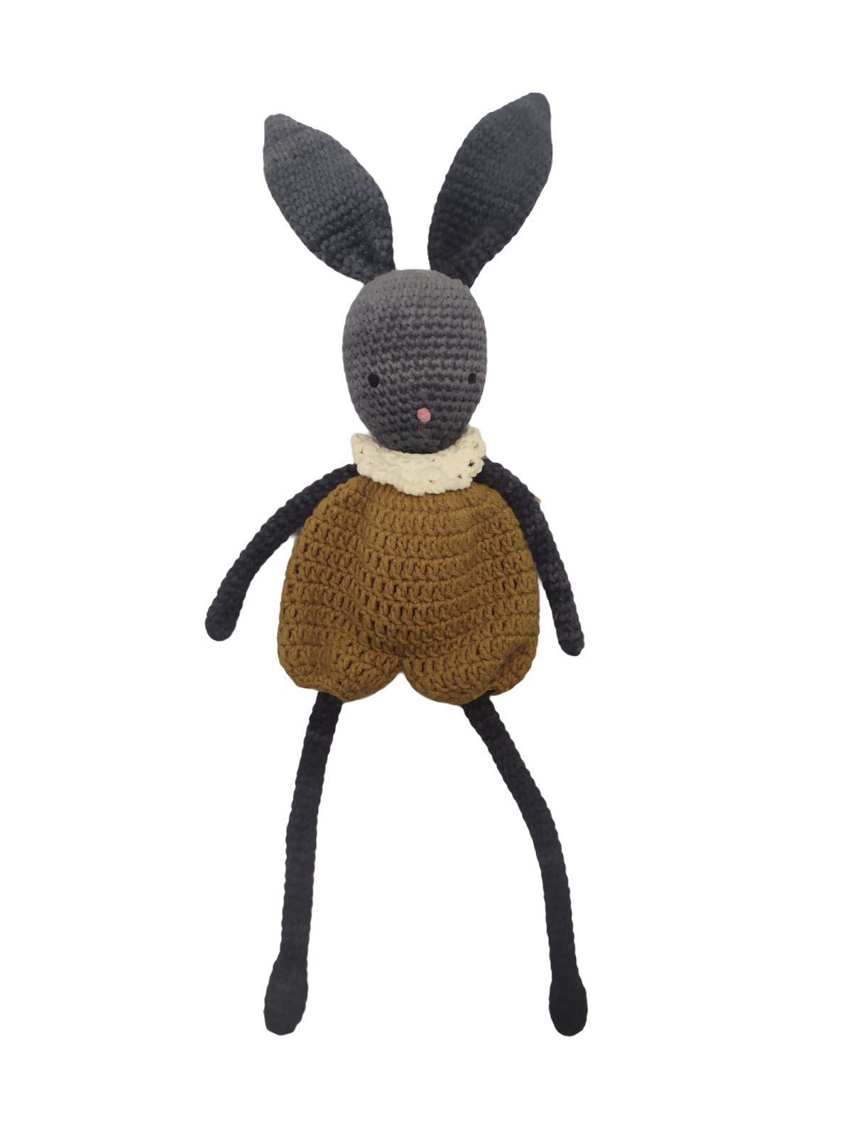 Doudou lapin gris en laine