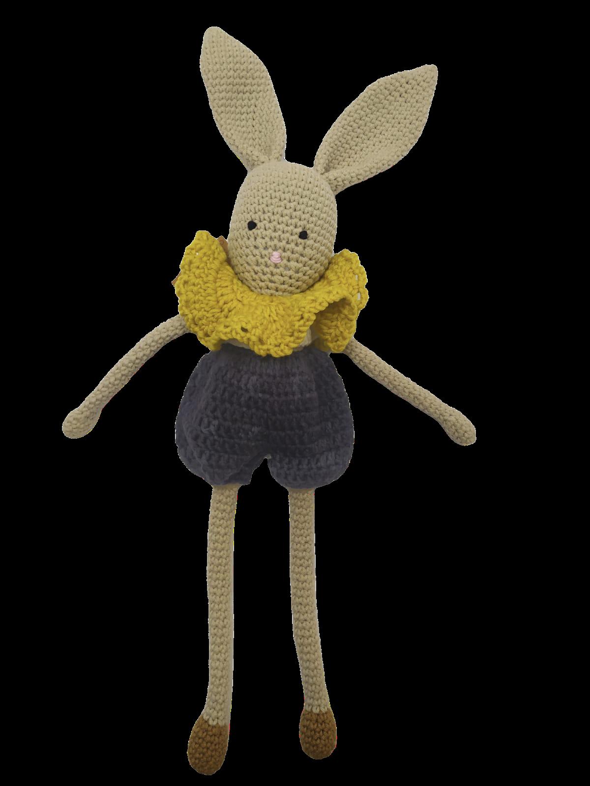Doudou lapin beige en laine