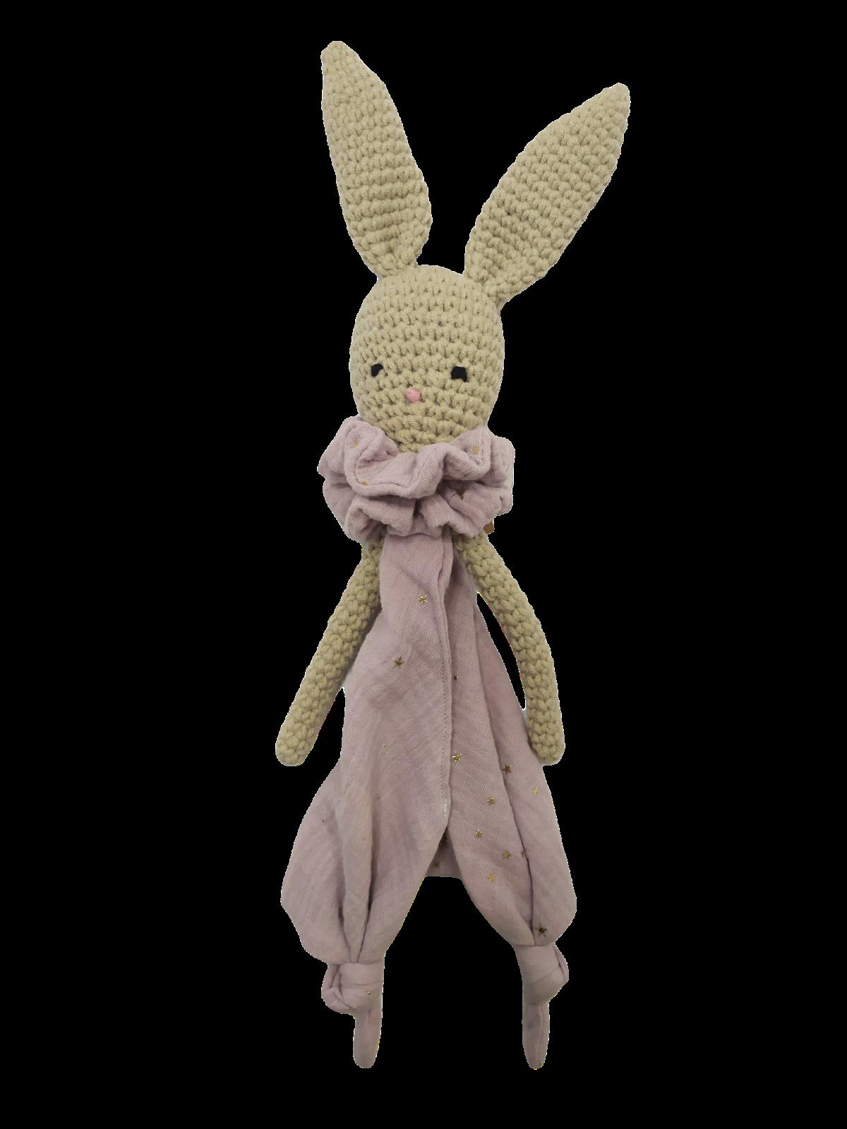 Doudou lapin rose étoiles en laine