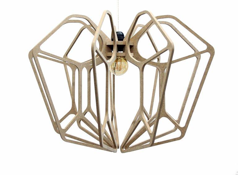 RIF Suspension Design bois D54cm DIAMOND câble lin et plafonnier bois