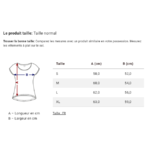 guide taille t-shirt femme dos long