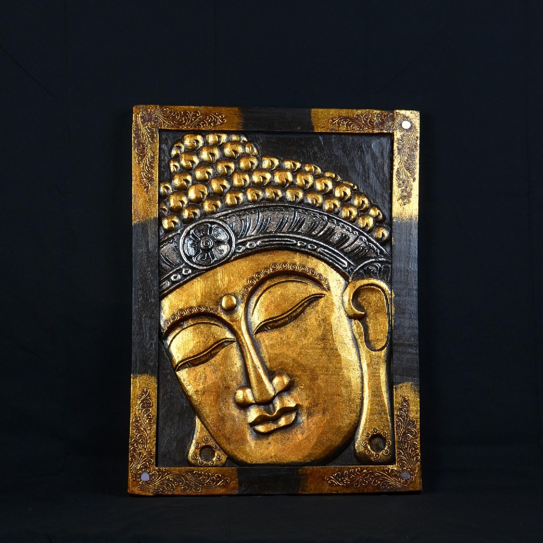 Tableau Bouddha Doré en Bois