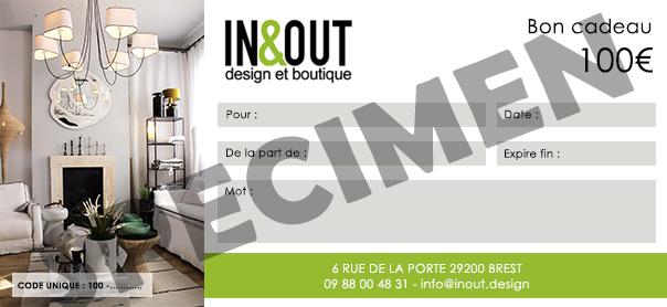Chèque cadeau In & Out Design 100€ V1 RECTO SPECIMEN