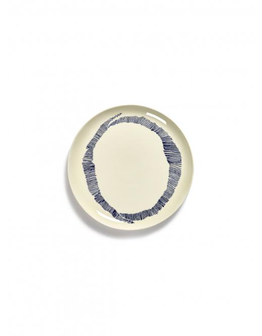 assiette feast L blanche swirl rayures bleues 26,5x26,5x2 B8921006B