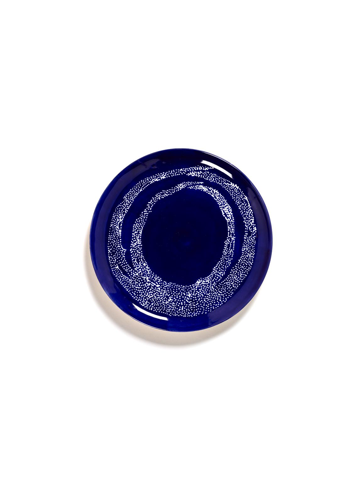 assiette feast L lapis lazuli swirl pois blancs 26,5x26,5x2 B8921006I