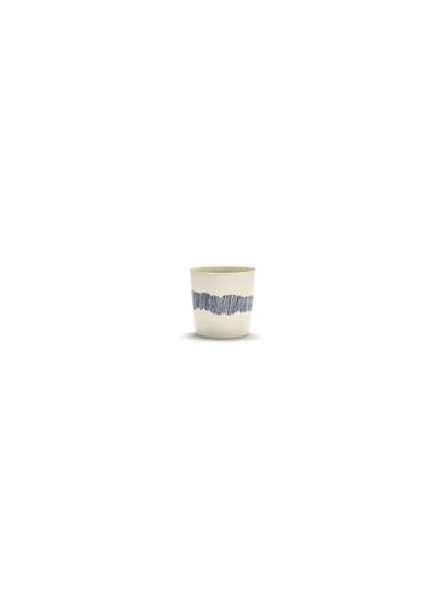 tasse à café feast 25cl H7,5cm blanc swirl stripes bleu b8921018b (1)