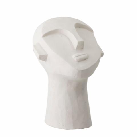 tête sculpture en ciment blanc (2)