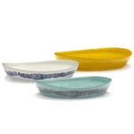 Plat de service FEAST blanc rayures bleues SWIRL B8921013B (3)