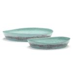 Plat de service FEAST azure swirl rayures rouges B8921013E (4)