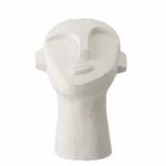 tête sculpture en ciment blanc