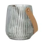 Lanterne verre fumé vert bloomingville H15 D13 0,5kg verre et PU