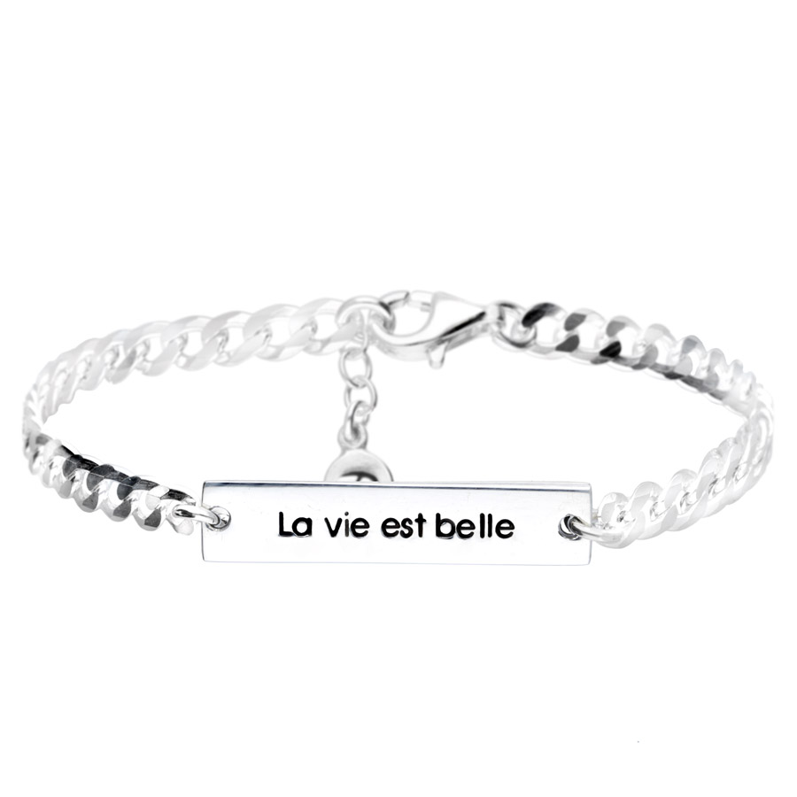 BRACELET CHAÎNE GOURMETTE LA VIE EST BELLE