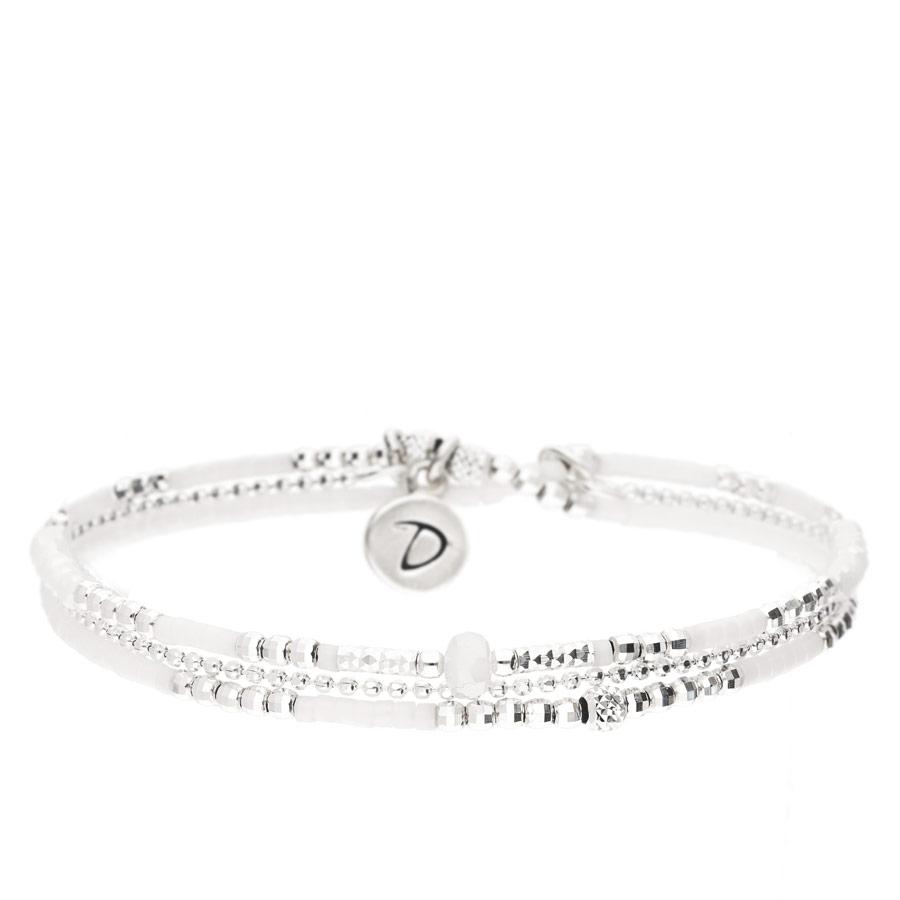 BR8300OPBLM - bracelet double tours en argent 925, perle centrale blanche