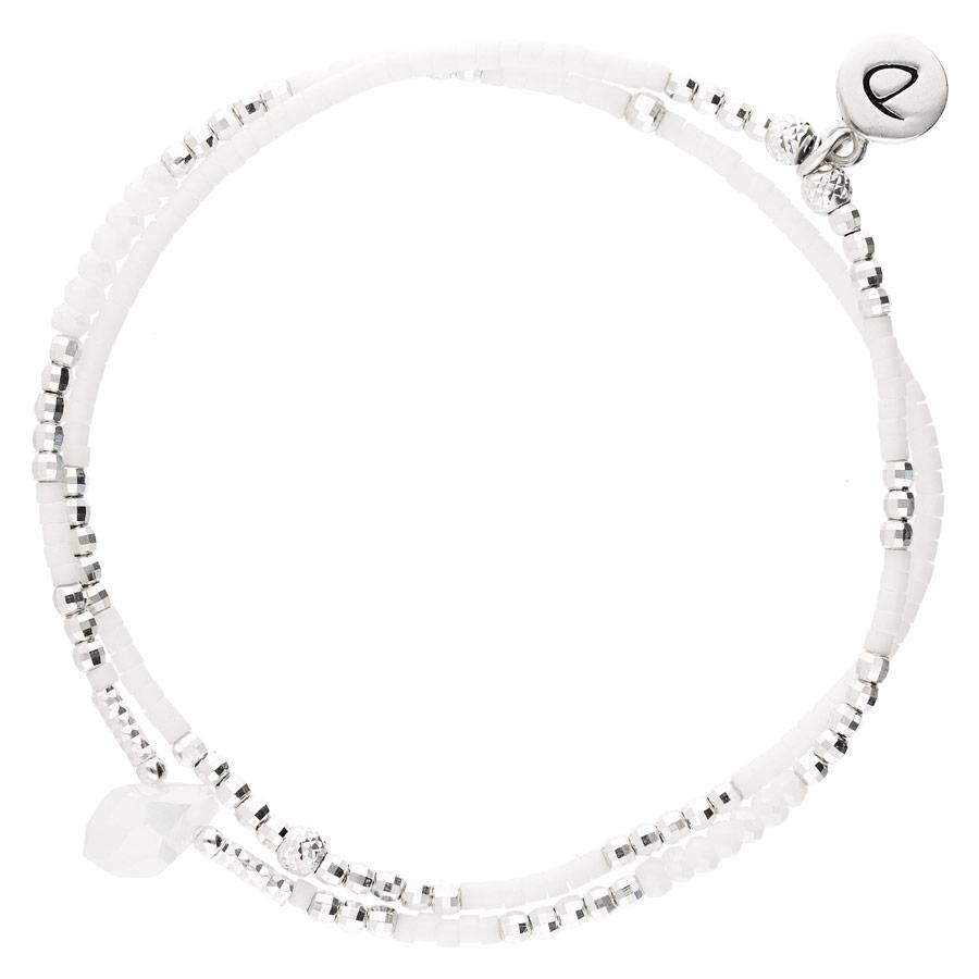 BR7616GOPBLM - bracelet double tours en argent 925 perles blanches et goutte centrale opaline